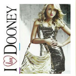 Dooney & Bourke zebra gold white large leather bag